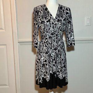 Roz & Ali Dress Black White 3/4 Sleeve Petite Sm.